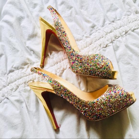 865ba3c0c945 Christian Louboutin Shoes - CHRISTIAN LOUBOUTIN No Prive Glitter Slingback  38